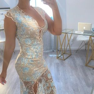Embroidered cream and teal maxi dress